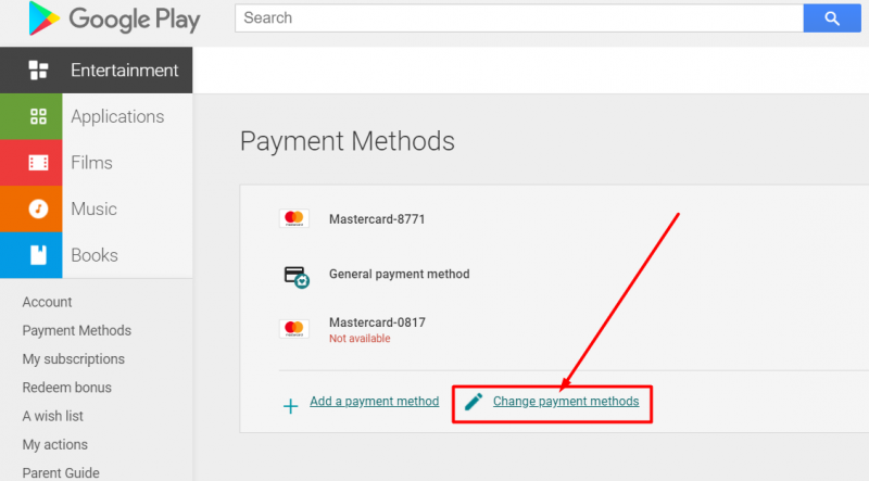 Edit payment methods