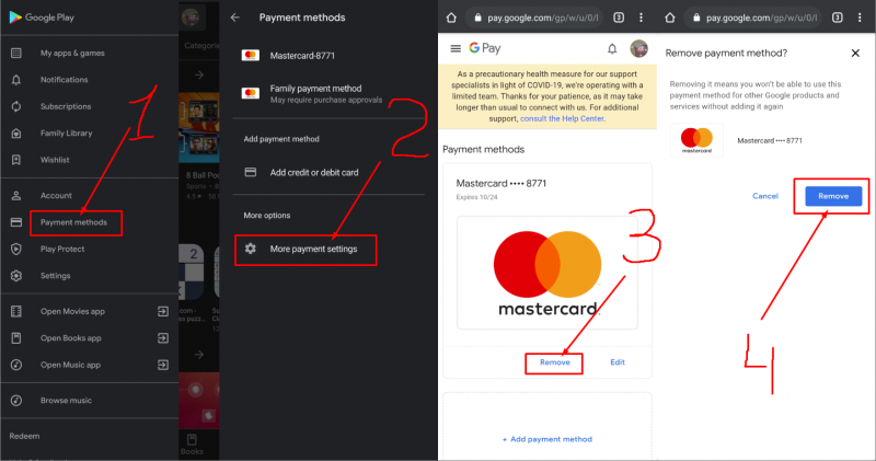 How To Remove Credit Card From Google Play On Android device